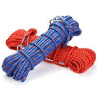 10/20M Kletterseil Sicherheitsseil +2 Karabinerhaken Bergsteigen Seil Blau Rot