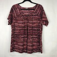 J Jill Top Blouse Pink Black Print Womens Size Large Short Sleeve
