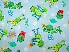 Blue cotton frog frogs fabric 1 yd kids quilt clothing quilting boys baby leaf