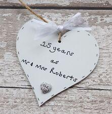 15th crystal wedding anniversary gift- Personalised Handmade Wooden Heart
