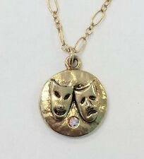 NWT Mad Coin Rachel Abroms Antique Gold Swarovski Crystl Comedy Tragedy Necklace