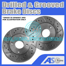 2x Drilled and Grooved 4 Stud 256mm Vented OE Quality Brake Discs(Pair) D_G_818