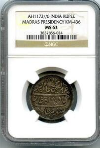 India AH1172//6  Madras Presidency Rupee NGC MS-63 (Undergraded)