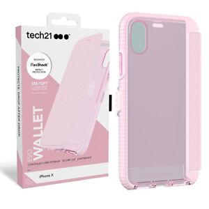Tech21 Evo Wallet Case Cover for iPhone X Pink T21-5861 FlexShock Card Slot