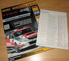 ADAC WIKINGER Rallye 2014 Fanpaket, Programmheft, Teilnehmerliste, 3 Aufkleber