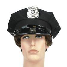 Police Officer Beat Cop Chauffeur Metal Badge Costume Hat Black
