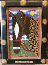 Chris Roberts Antieau Original Art Seabiscuit Horse Framed Folk Art