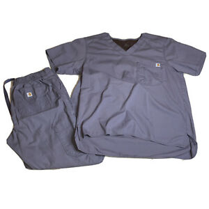 Carhartt Men's Ripstop Scrub Set Gray Size Medium Top And Bottom Medical C54108