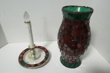 2 Piece Mosaic Stained Glass Tile Candle Holder Matching Plate W/Plastic Candle