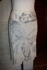 Jupe aux genoux en coton blanc imprimé gris SAVE THE QUEEN Taille S 38/40