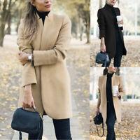 Women Winter Warm Wool Lapel Trench Parka Coat Jacket Long Slim Overcoat Outwear