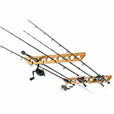 Fishing Pole Rod Reel Holder Rack Wooden Ceiling Wall Mount Cabin Garage Storage