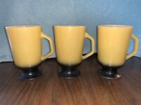 3 Vintage FIRE KING ANCHOR HOCKING YELLOW IRISH COFFEE MUG Pedestal USA Cup Milk