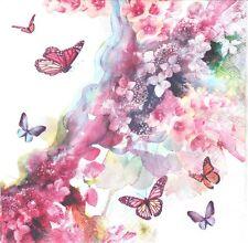 Lot de 2 Serviettes en papier Fleurs Papillons Decoupage Collage Decopatch