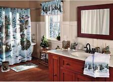 Woodland Winter Decor Moose Bear Shower Curtain, Rug & Shower Rings Bathroom Set