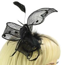 Melbourne Cup Party Race Feather Fascinator Comb Head Piece Black Polka Dot