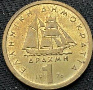 Greece 1976    Nickel Brass    Drachma    AU  Coin   #K269