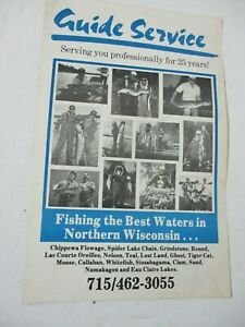 VTG NOS MUSKY Fishing Guide Service Poster Hayward WI circa 1980s/1990s