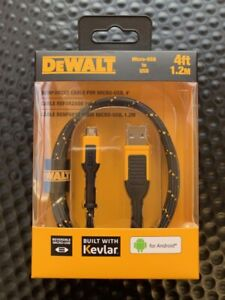 DEWALT 4FT KEVLAR REINFORCED MICRO-USB TO USB CHARING CABLE FOR ANDROID