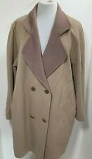 Womens Vintage Coat UK 16 Camel Beige Cream Tan Pure  New Wool Double Breasted