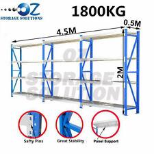 2M x 4.5M x 0.5M Heavy Duty Garage Storage Shelving Racks 1800KG