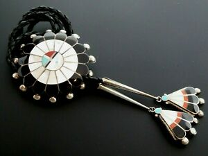Vintage Zuni Sun Face Signed P. Lonjose Inlay Shell Gemstone Sterling Bolo Tie