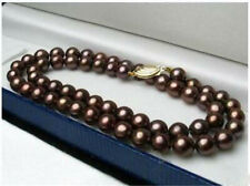 Pretty 22 Inch 8mm Coffee Brown Freshwater Shell Pearl Round Beads Necklace