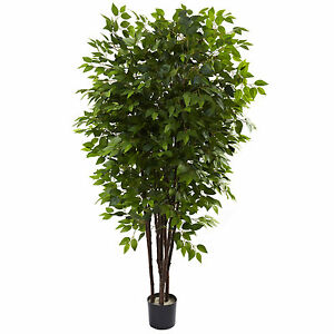 NEW FICUS TREE FAUX ARTIFICIAL SILK 6.5 FEET GREEN HOUSEPLANT NEARLY NATURAL