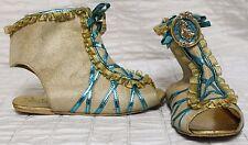 Disney Pocahontas Ankle Shoe Sz 2/3 Beige Blue Gold Metallic EUR 32/33 UK 13-1
