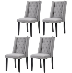 Set of 4 Grey Elegant Dining Side Chairs Button Tufted Fabric w Nailhead 54B