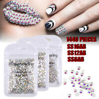 1440PCS Flat Back Nail Art Rhinestones Glitter Crystal Gems 3D Tips Decor DIY