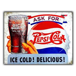 SIGN METAL WALL PLAQUE PEPSI Cola Retro Vintage Bar art poster Advert Coke 1940