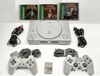Sony PlayStation 1 PS1 Console TOMB RAIDER 1-2-3 & 2 Controllers & Game Bundle