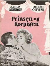 MARILYN MONROE LAURENCE OLIVIER PRINCE & SHOWGIRL 1957 DANISH MOVIE FILM PROGRAM