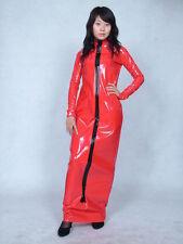 PVC lycra spandex zentai suit costume metallic red long dresS--XXL