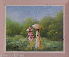 Sandy Grit Textured Art  Oil Painting Signed Newton Victorian Mother & Daughter