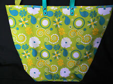 Colorful  floral tote shopper market  beach bag w/ zippered small bag inside NEW