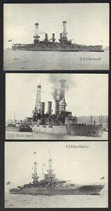 U.S. 1900s 3 BATTLE SHIPS OF THE NAVY US STEAMSHIP NEW MEXICO USS RHODE ISLAND &