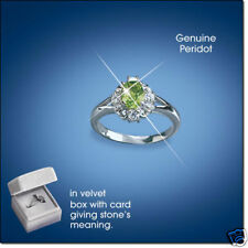 Sterling Silver Genuine Peridot Ring - Size 10 - August