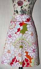 Atmosphere White Orange Red Green Floral Tropical Midi Skirt 60s 70s A-line UK10