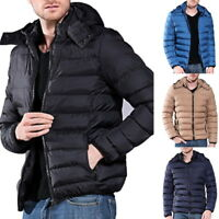 Winter Mens Fashion Hooded Parka Quilted Coat Slim Fit Puffer Jacket Large Size