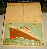 cartolina doppia con MENU' della COSULICH LINE TRIESTE FP NV 1928
