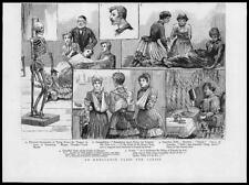1887 Antique Print - MEDICAL  Ambulance Class Skeleton Sling Fractures  (96)