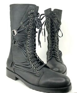 Rock & Republic Mens NILO Leather Lace Up Boots with Grommets Size 47 US Size 13