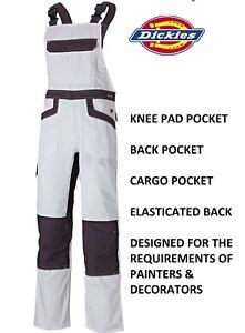 Mens Dickies Bib & Brace Knee Pad Pockets Painters Decorators IN4001 White 30-48