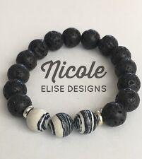 Aroma Therapy diffuser bracelet lava stones & Zebra Jasper 10mm essential oil