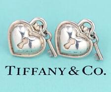 TIFFANY&Co Heart Key Padlock Stud Earrings Silver 925 w/BOX #4263