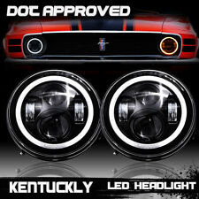 "DOT LED Diamond Projector 7"" Inch Round Headlights For Ford Mustang 1965-1978"