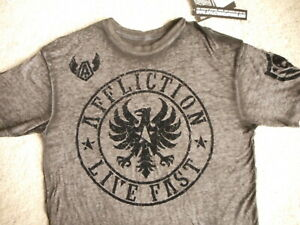 Afflictions Mens T Shirt XL w tags Live Fast Fragment SS Black Gray