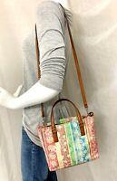 Fossil Multicolor Striped Floral Coated Canvas Crossbody Shoulder Bag Purse